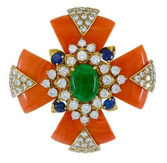 David Webb Coral Sapphire Cabochon Emerald Diamond Maltese Cross Brooch