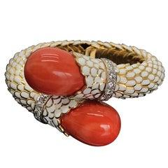 David Webb Coral White Enamel Bracelet with Diamonds set in Platinum & 18K Gold