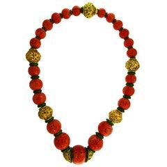 David Webb Coral Yellow Gold Enamel Bead Necklace, Massive, 1980s