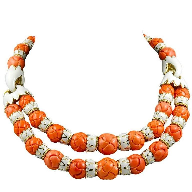 David Webb Coral, White Enamel Necklace