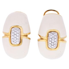David Webb Cream Enamel Diamond Earrings