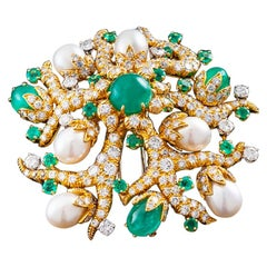 David Webb Cross River Collection Cab Emerald, Pearl, and Diamond Clip Brooch
