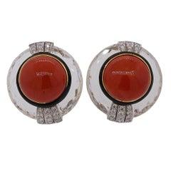 David Webb Crystal Coral Diamond Gold Platinum Earrings