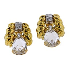David Webb Crystal Diamond Gold Platinum Doorknocker Earrings