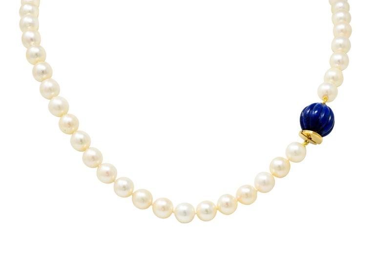 David Webb Cultured Pearl Lapis 18 Karat Gold Strand Necklace, circa 1960 For Sale 2