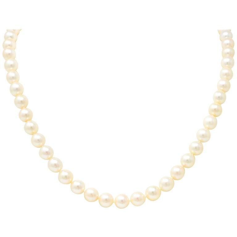 David Webb Cultured Pearl Lapis 18 Karat Gold Strand Necklace, circa 1960 For Sale