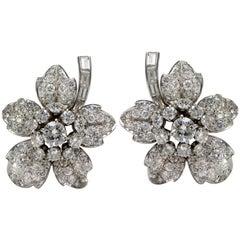 David Webb Designer Pure Platinum Genuine Diamond Floral Earrings or Ear Clips