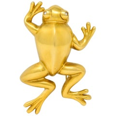 David Webb Diamond 18 Karat Gold Stylized Frog Brooch