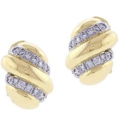 David Webb Diamond and Gold Earrings