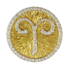David Webb Diamond and Gold Zodiac Pendant for Aries