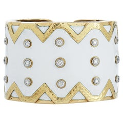 David Webb Diamond and White Enamel Rickrack Cuff Bracelet in 18k Yellow Gold
