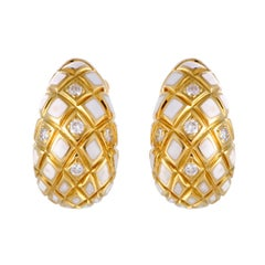 David Webb Diamond and White Enamel Yellow Gold Clip-On Earrings