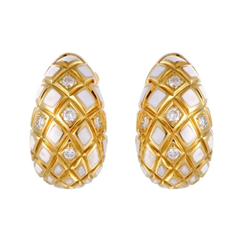David Webb Diamond and White Enamel Yellow Gold Clip-On Earrings