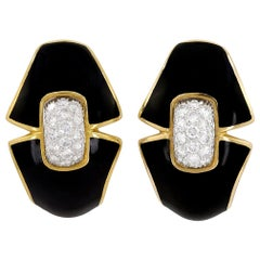David Webb Diamond, Black Enamel Earrings