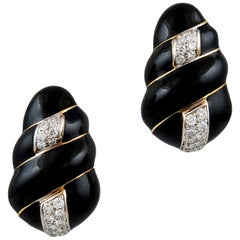 David Webb Diamond Black Enamel Earrings