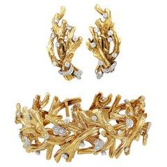 David Webb Diamond Bracelet and Earrings
