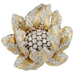 David Webb Diamond Buttercup Flower Brooch