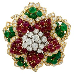 David Webb Diamond Cabochon Ruby, Emerald Brooch