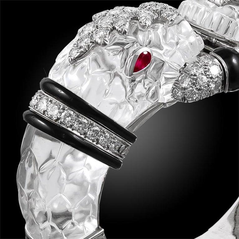 David Webb Diamond, Carved Crystal, Black Enamel Chimera Bangle In Good Condition For Sale In New York, NY