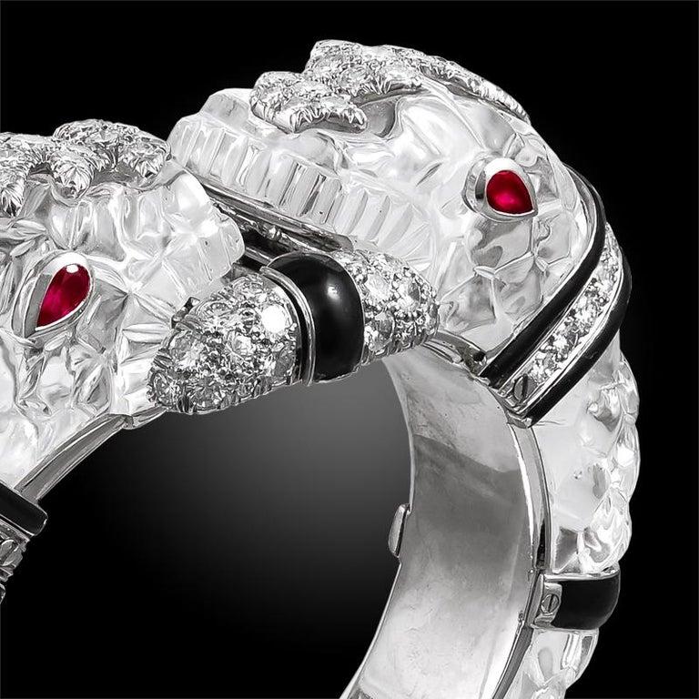 Women's David Webb Diamond, Carved Crystal, Black Enamel Chimera Bangle For Sale