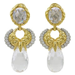 David Webb Diamond, Carved Crystal Earrings