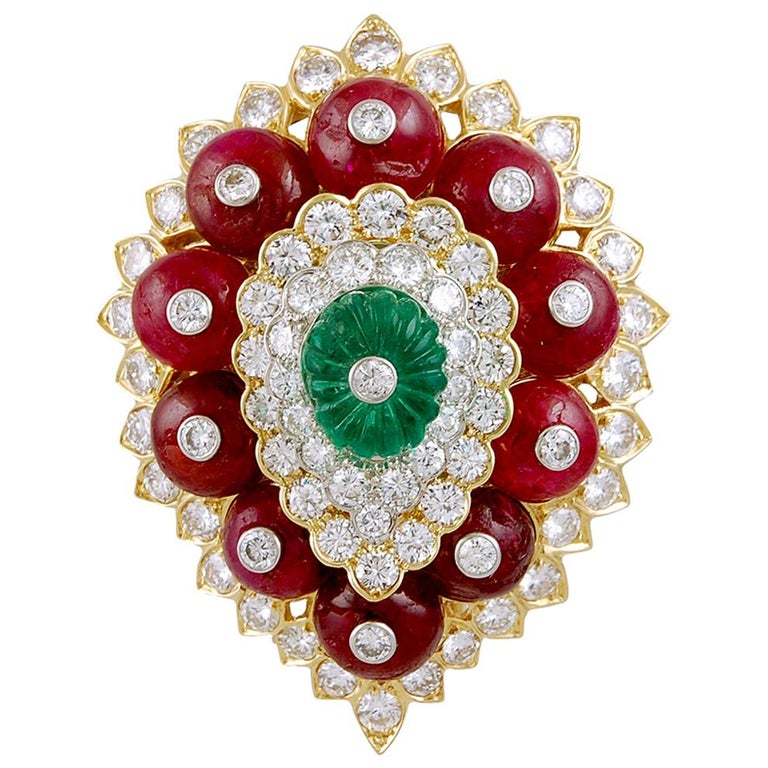 David Webb Diamond Carved Emerald Ruby Yellow Gold Platinum Brooch For Sale