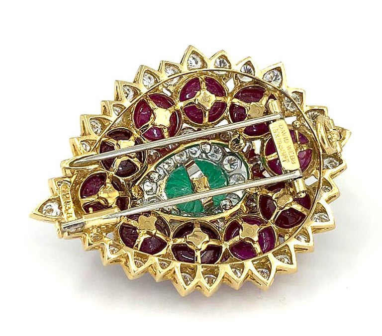 Women's or Men's David Webb Diamond Carved Emerald Ruby Yellow Gold Platinum Brooch For Sale