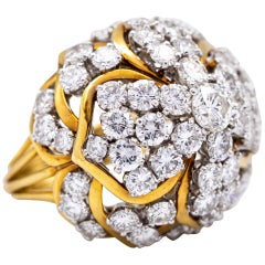 David Webb Diamond Cluster Bombe Ring in Platinum and 18 Karat Gold, circa 1970