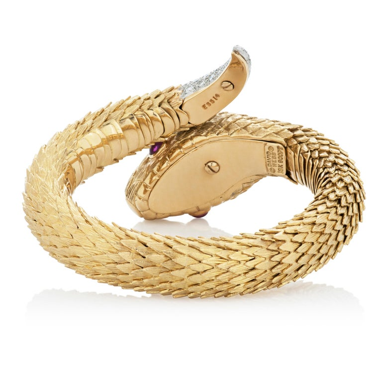 Women's David Webb Diamond, Emerald and Ruby Snake Charmer Bracelet in 18K Yellow Gold For Sale