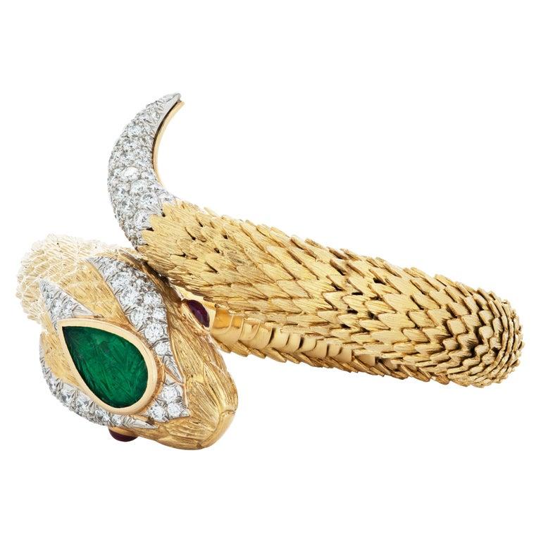 David Webb Diamond, Emerald and Ruby Snake Charmer Bracelet in 18K Yellow Gold For Sale