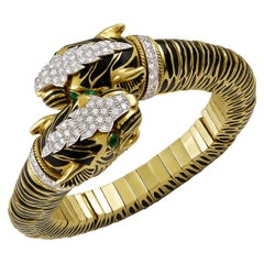 David Webb Diamond, Emerald Double Tiger Head Bracelet