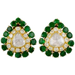 David Webb Diamond, Emerald Ear Clips