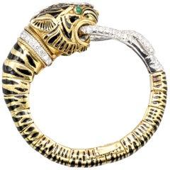 David Webb Diamond Emerald Platinum and 18 Karat Gold Tiger Head Bangle Bracelet