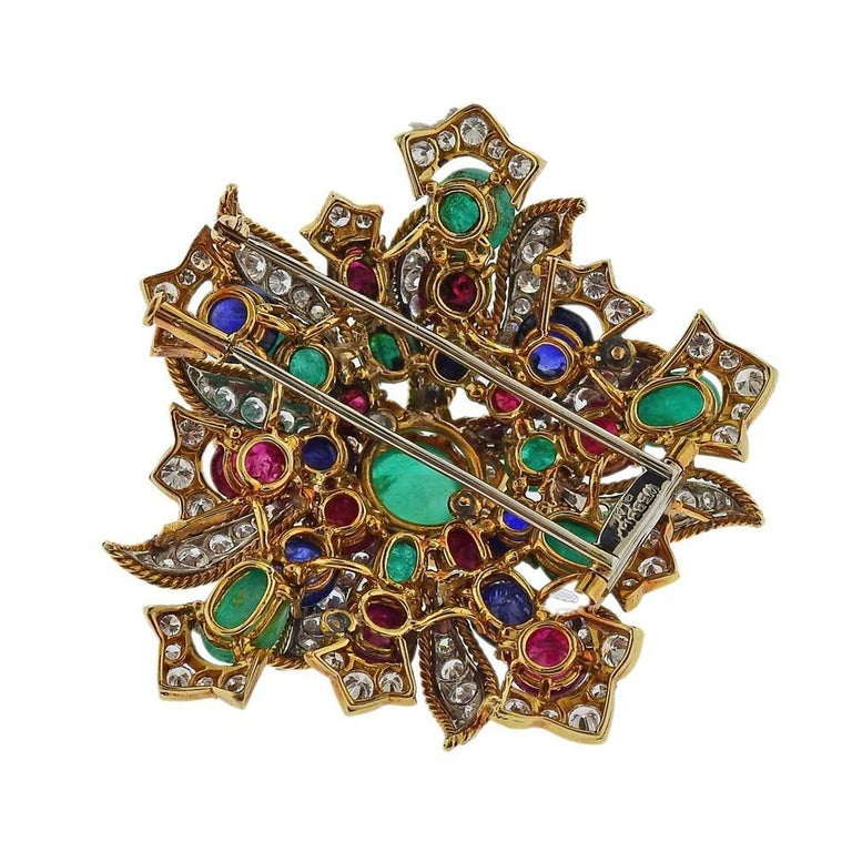 David Webb Diamond Emerald Ruby Sapphire Gold Platinum Brooch In Excellent Condition For Sale In New York, NY