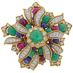 David Webb Diamond Emerald Ruby Sapphire Gold Platinum Brooch