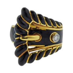 David Webb Diamond Enamel Gold Platinum Buckle Ring