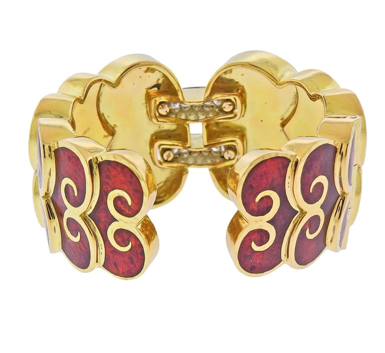 Round Cut David Webb Diamond Enamel Gold Platinum Swirl Cuff Bracelet For Sale