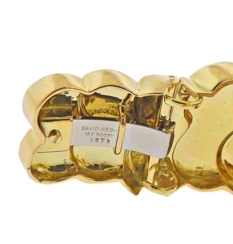 David Webb Diamond Enamel Gold Platinum Swirl Cuff Bracelet In Excellent Condition For Sale In Boca Raton, FL
