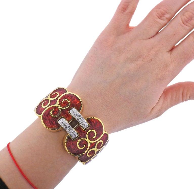 Women's David Webb Diamond Enamel Gold Platinum Swirl Cuff Bracelet For Sale