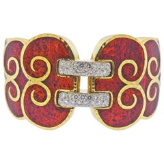 David Webb Diamond Enamel Gold Platinum Swirl Cuff Bracelet