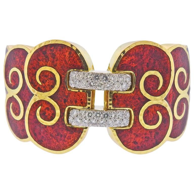 David Webb Diamond Enamel Gold Platinum Swirl Cuff Bracelet For Sale
