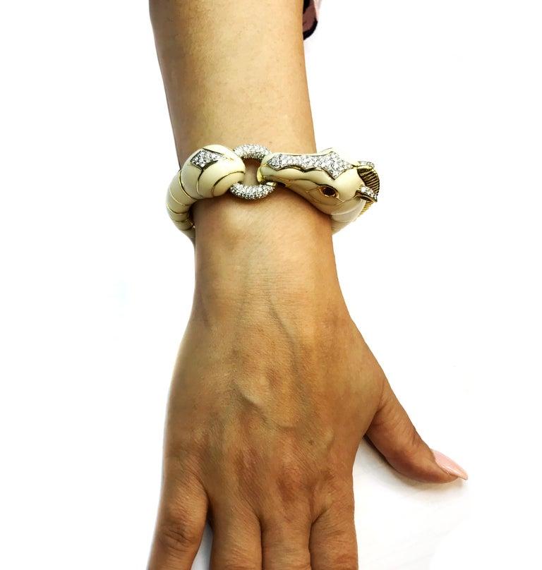 David Webb Diamond Enamel Horse Bracelet For Sale 3