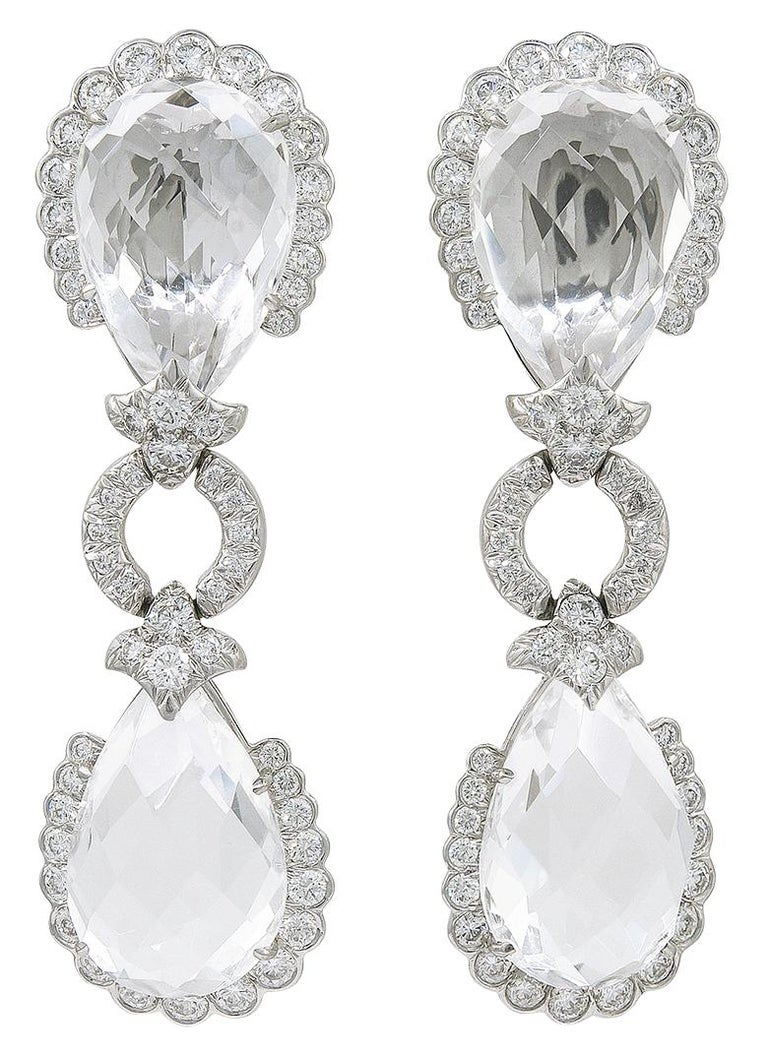 David Webb Diamond, Faceted Rock Crystal Earrings In Good Condition For Sale In New York, NY
