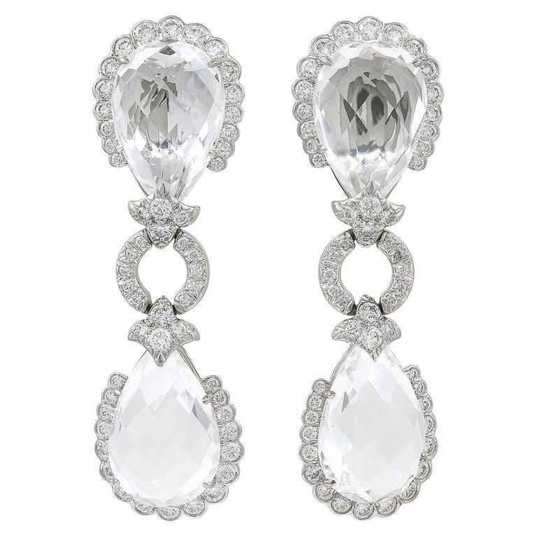 David Webb Diamond, Faceted Rock Crystal Earrings For Sale