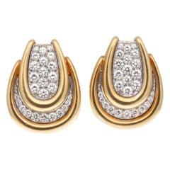 David Webb Diamond Gold Earrings