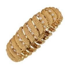 David Webb Diamond Gold Link Bracelet