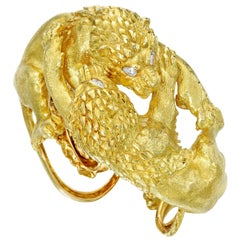 David Webb Diamond Gold Lion Bracelet
