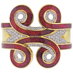 David Webb Diamond Gold Platinum Enamel Arabesque Cuff Bracelet
