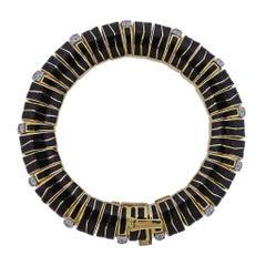 David Webb Diamond Gold Platinum Enamel Bracelet