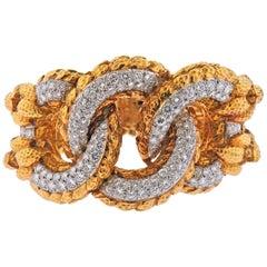 David Webb Diamond Gold Platinum Link Bracelet